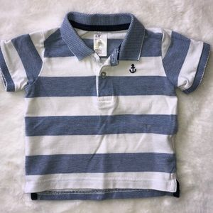 H&M blue and white collared shirt 6-9 months